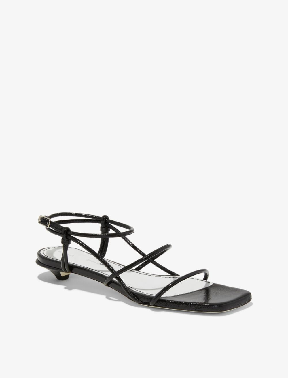 999 Black Strappy Low Kitten Heel Sandals From Proenza Schouler In 2020 Kitten Heel Sandals Black Sandals Heels Kitten Heels