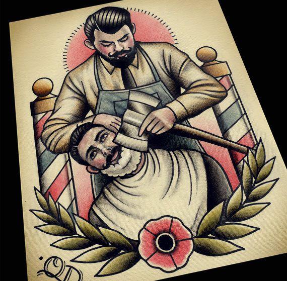 Axe Shave Tattoo Print Barber Tattoo Tattoo Flash Art Old School Tattoo