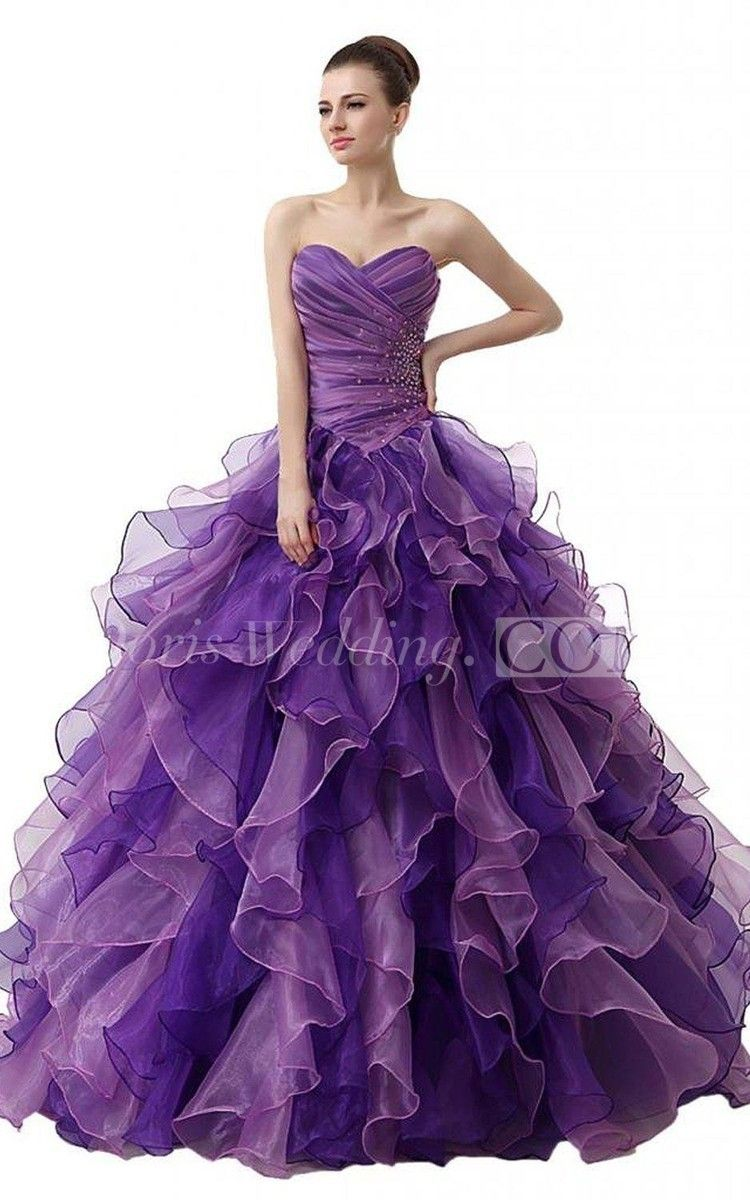 Dreaming sweetheart ruched ball gown with cascading ruffles and