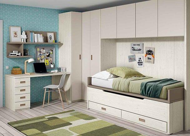 Dormitorio infantil con 2 camas armario rinc n puente y Armario puente juvenil