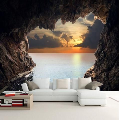 3D Cave Sunrise Ocean Stereoscopic Wallpaper Mural (With