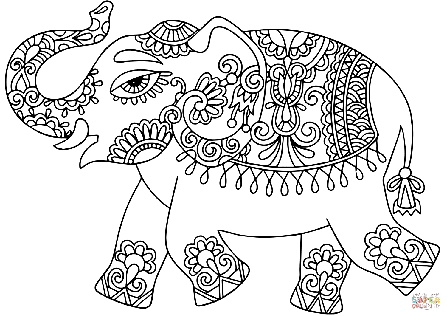 Elephant With Indian Pattern Super Coloring Elephant Coloring Page Elephant Colouring Pictures Indian Elephant Drawing
