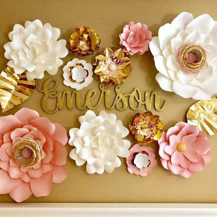 Paper Flowers Set of 11 - Large Paper Flowers | Baby Nursery ...