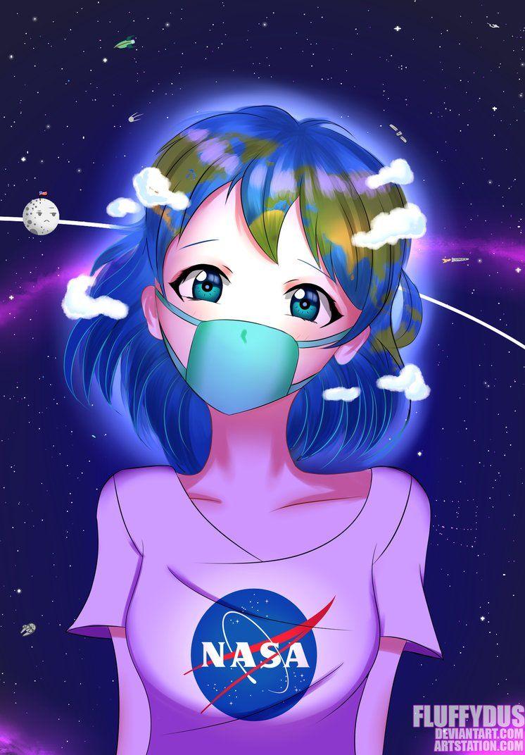 Earth Chan By FluffyDus Anime Bonito All Girls Kawaii
