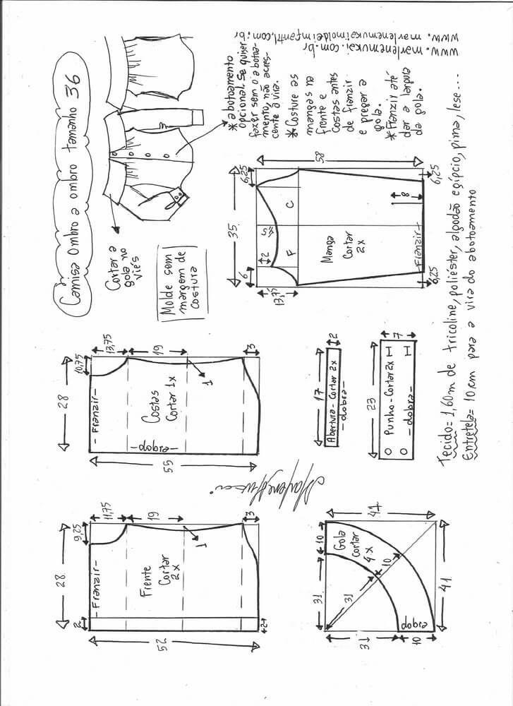 Patrón de Camisa manga larga sin hombros | Dibujos De trazos ...