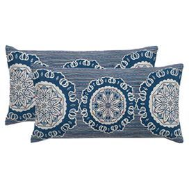 Embroidered Cotton Pillow With A Medallion Design Product Pillowconstruction Material Cotton Cover And Throw Pillows Patterned Throw Pillows Rizzy Home