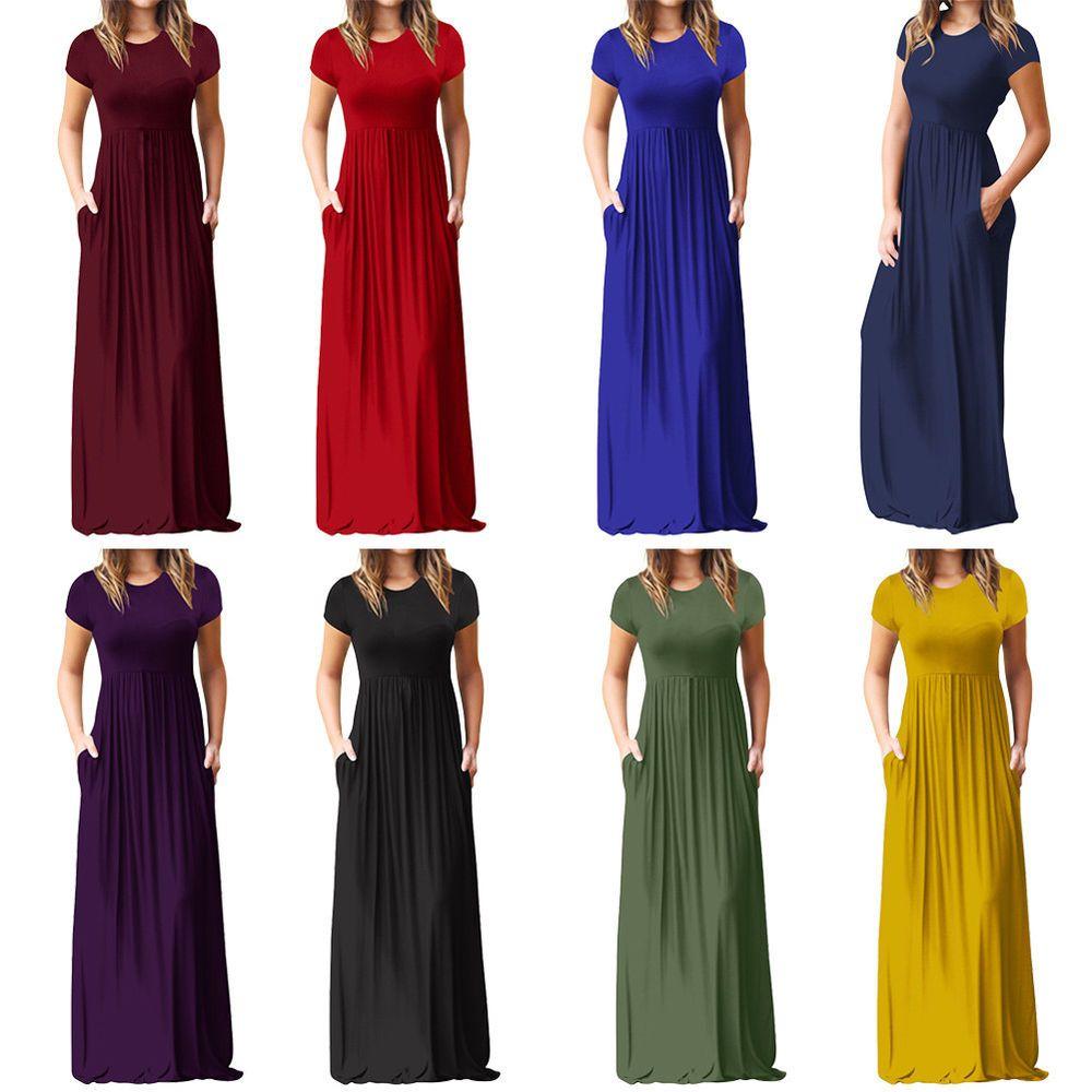 fb87fda1d8 Women Ladies Casual Long Sleeve Plain Pocket Evening Party Long Maxi Dress  US  fashion