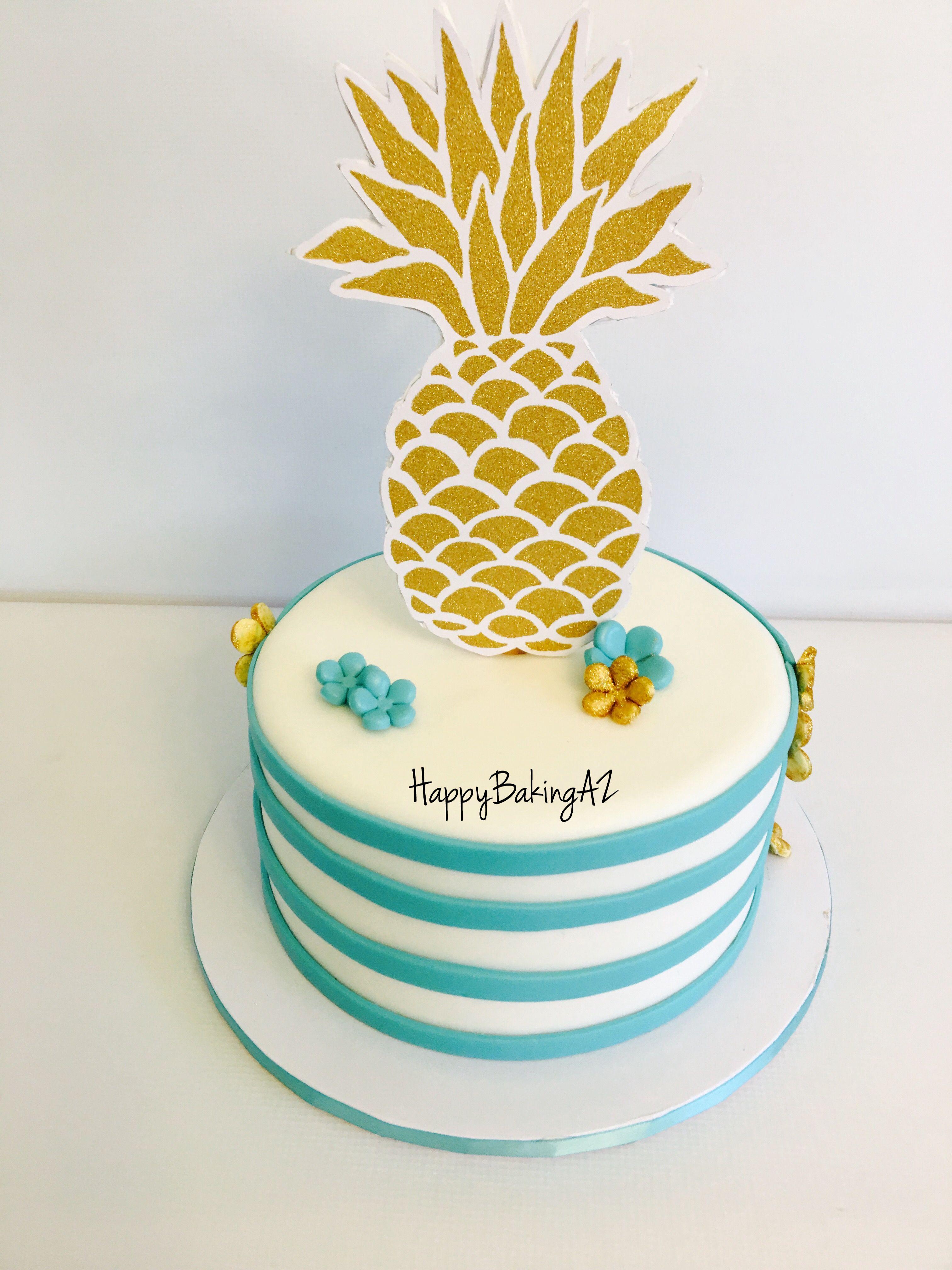 Teal and gold Pineapple cake! #HappyBakingAZ #CustomCakesAZ ...