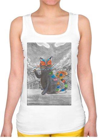Sanatçı Kedi Kendin Tasarla - Bayan Kare Yaka Atlet