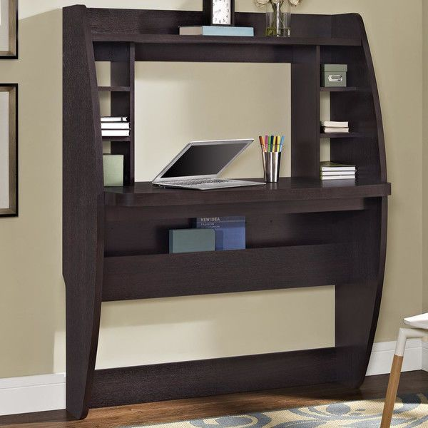 Floating Wall Mounted Computer Desk Office Writing Table Shelves Hang Espresso #IDH #Contemporary