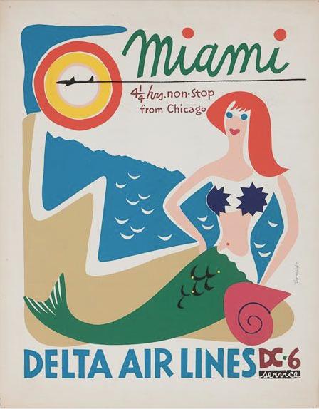 Miami Florida Mermaid United States America Travel Advertisement Art