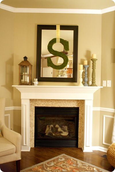 Idea For Decorating With Mirror And Large Moss Covered Letter Over Fireplace Mantel Home Fireplace Mantle Decor Home Decor