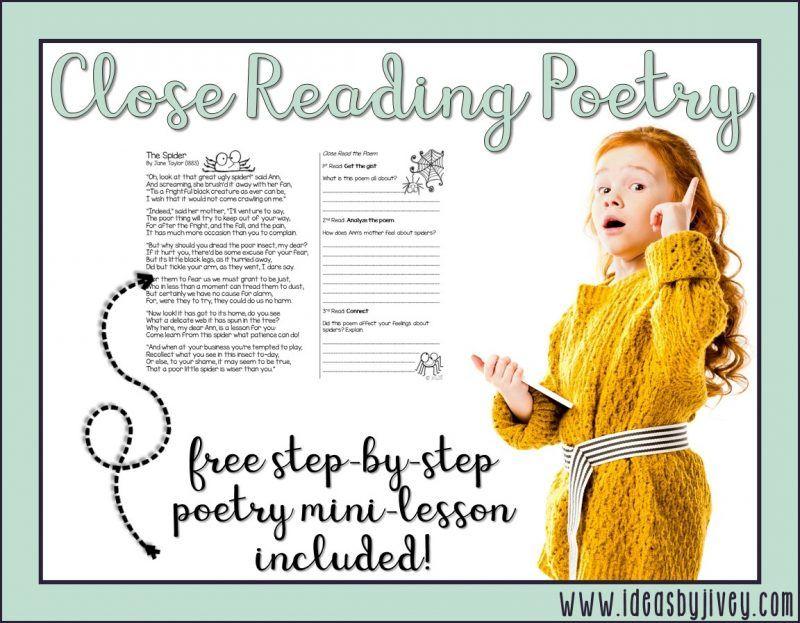 Close reading poetry stepbystep minilesson close