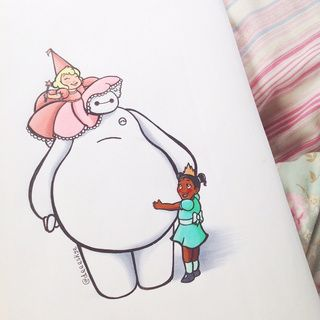 Liked Drawings By Madycakes PaigeeWorld Drawing And - Baymax imagined famous disney characters