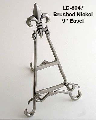 Brushed Nickel Table Easels Fleur De Lis Number Holders