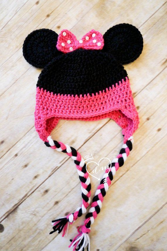 e2e18a735be Crochet Minnie Mouse Beanie Hat