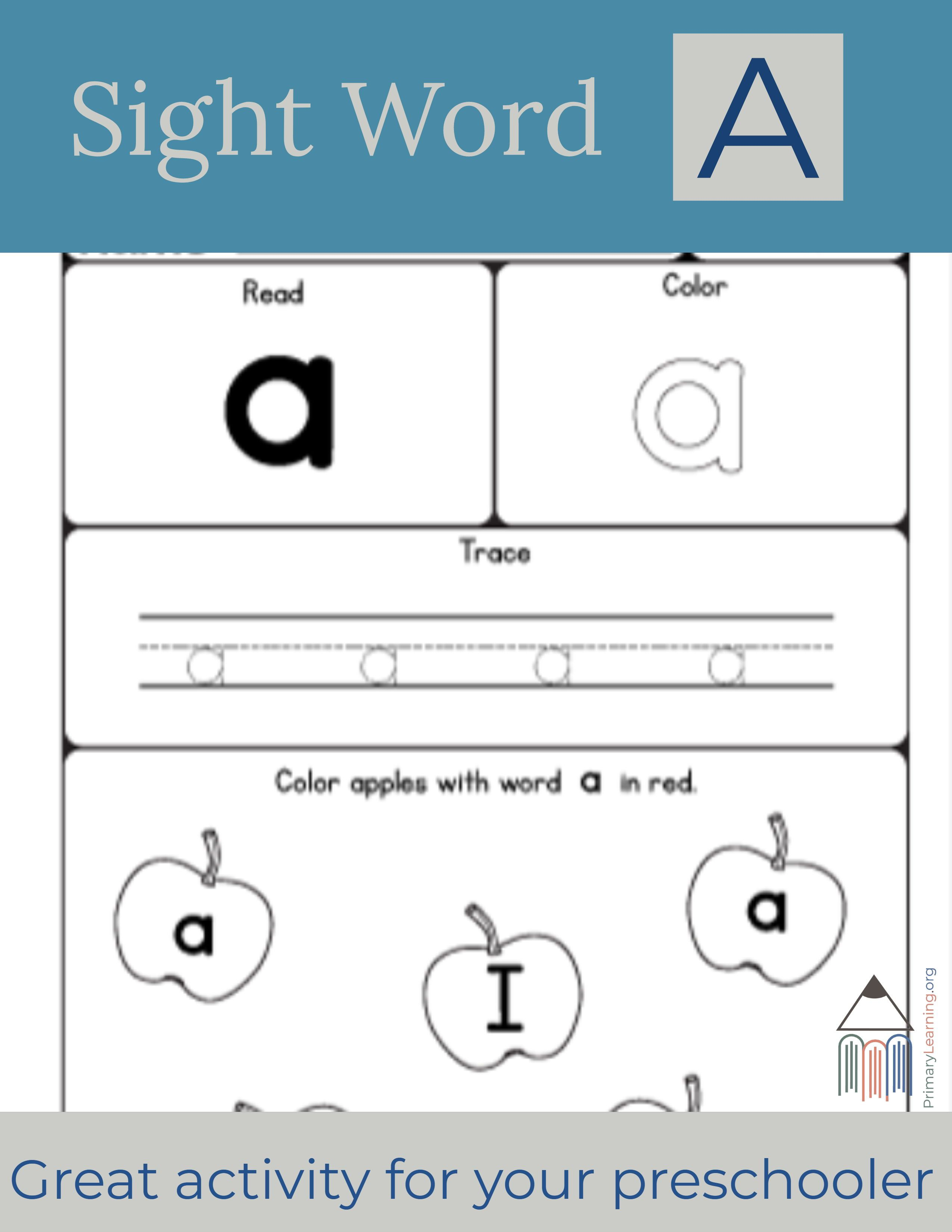Sight Word A Worksheet