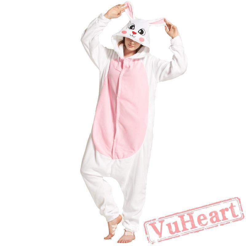 MizHome White Rabbit Polar Fleece Kigurumi Costume One-Piece Pajamas S-XL