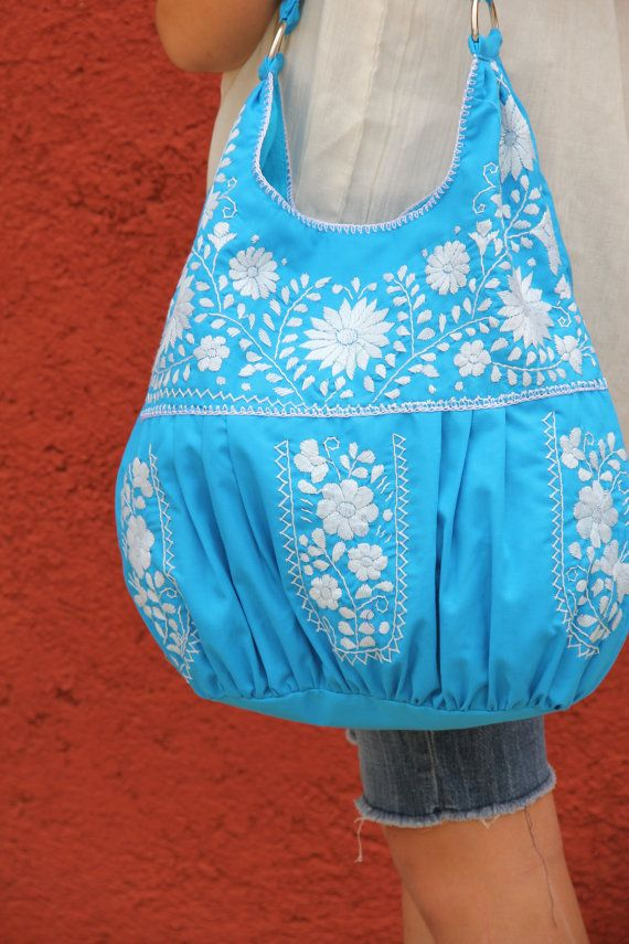 sky blue and white hand  Embroidered Huipil Boho tote by CasaOtomi, $98.00