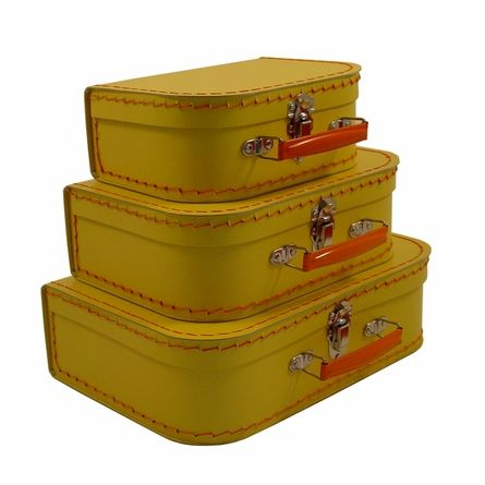 Buy Your Euro Storage Suitcases   Banana Yellow With Orange Handles By  KidSTYLE Here. The Retro Style Of The Euro Decorative Storage Suitcase 3  Piece Sets ...