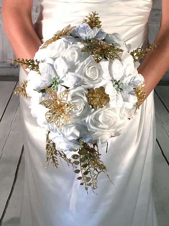 Gold And White Winter Wedding Bouquet Poinsettia Bouquet White