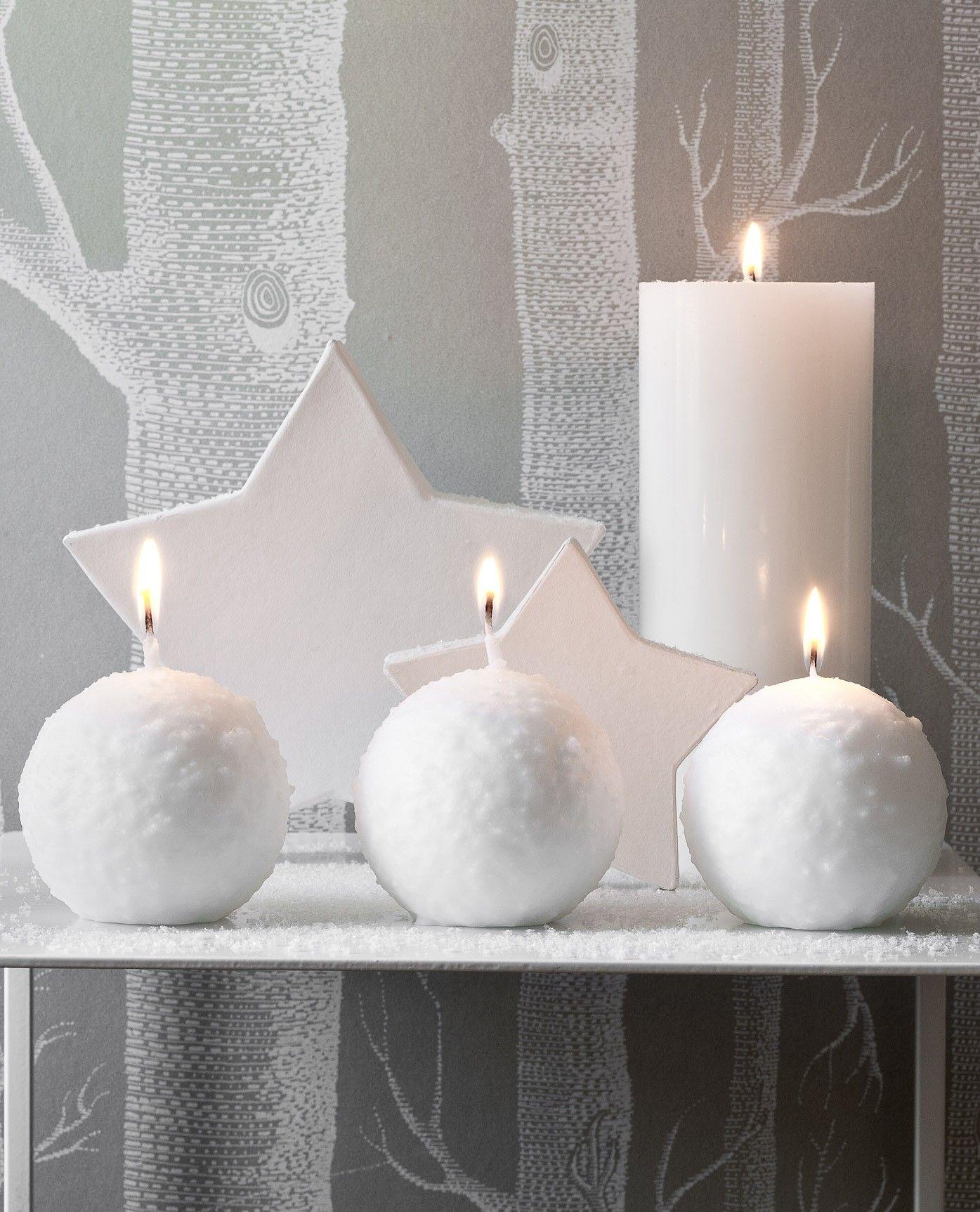 Bougie Decorative Boule De Neige 18h Blanc Christmas Pinterest