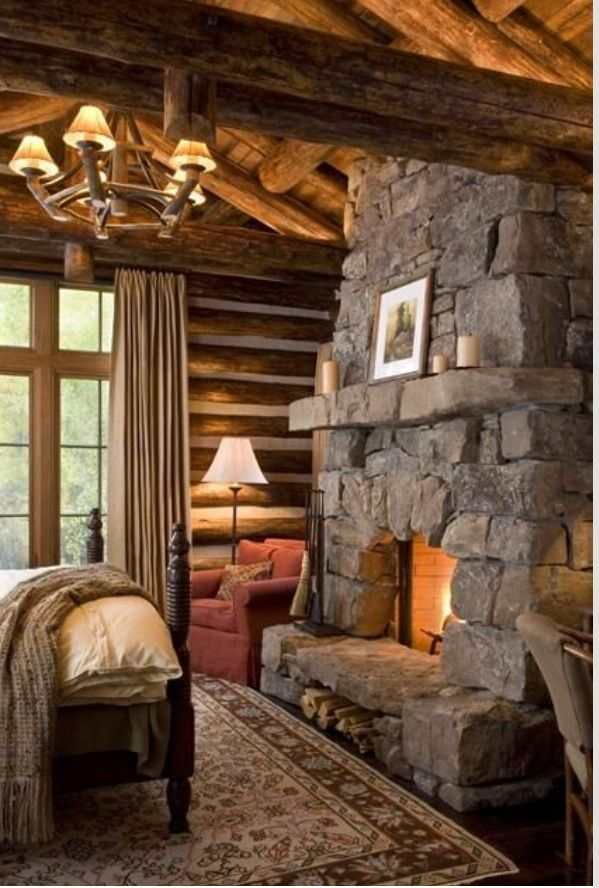 Love This Stonework On This Fireplace Log Homes Log Cabin Homes