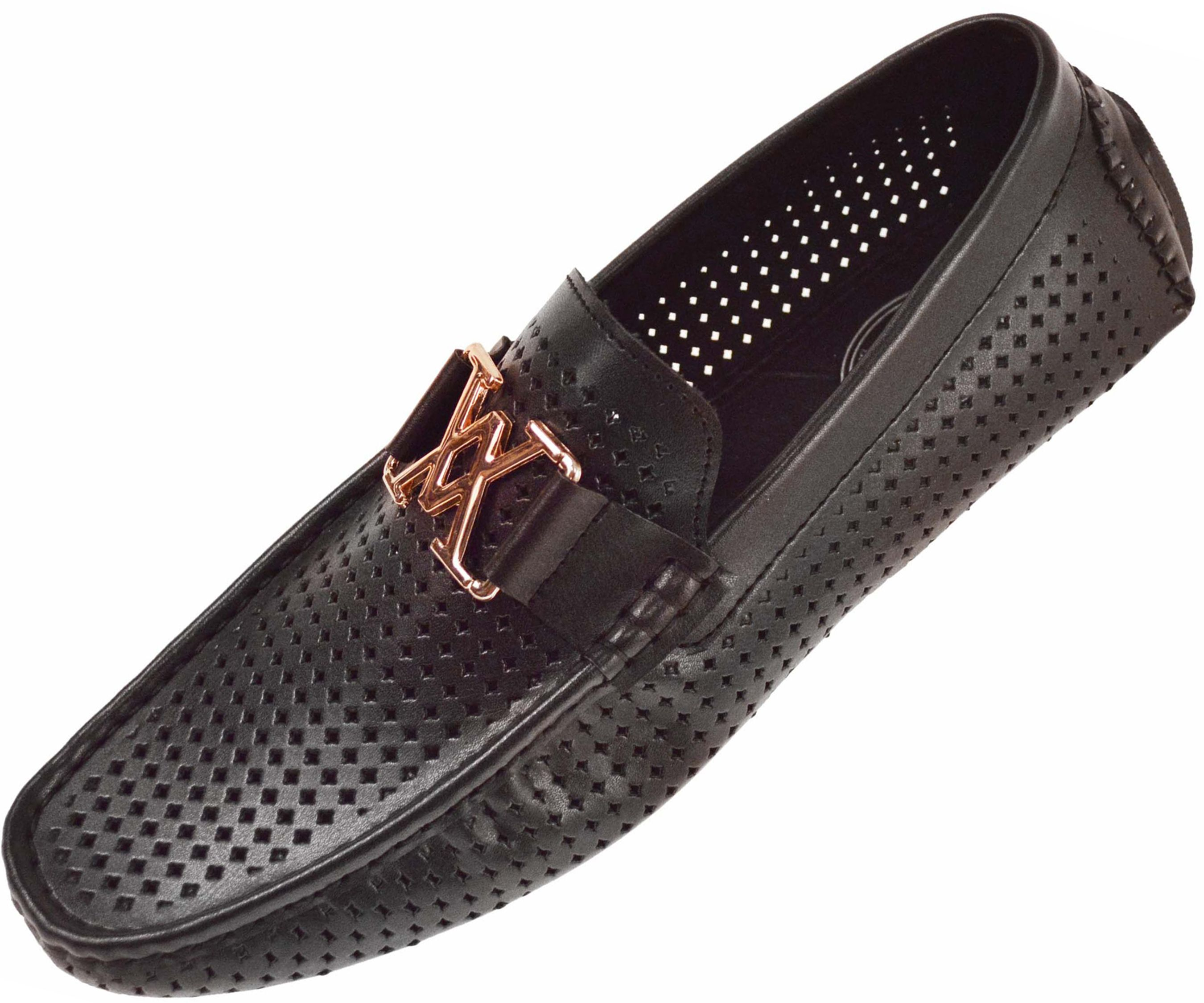 ba79266bf7 Amali Mens Black Diamond Perforated Smooth Driving Shoe : 1425-000 ...