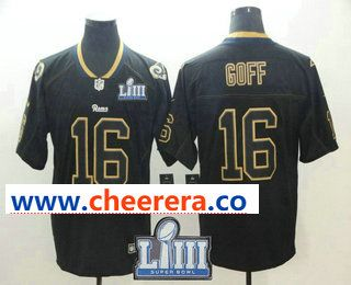 Men s Los Angeles Rams  16 Jared Goff 2019 Super Bowl LIII Patch Black  Lights Out Color Rush Stitched NFL Nike Limited Jersey 7f9e4edc1