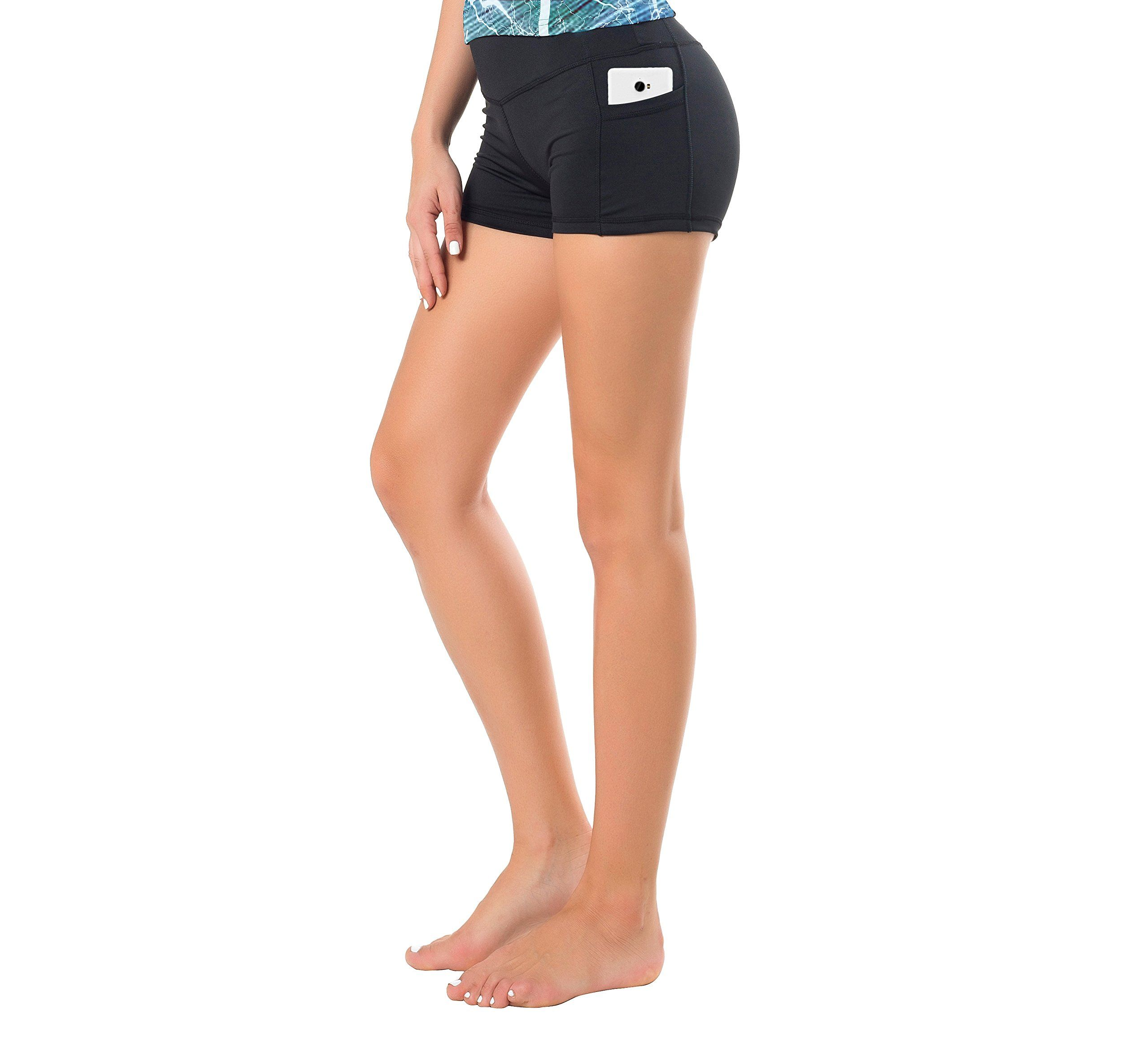 Women/'s Yoga Running Shorts Exercise Workout Tights Yoga Half Pants with Pockets