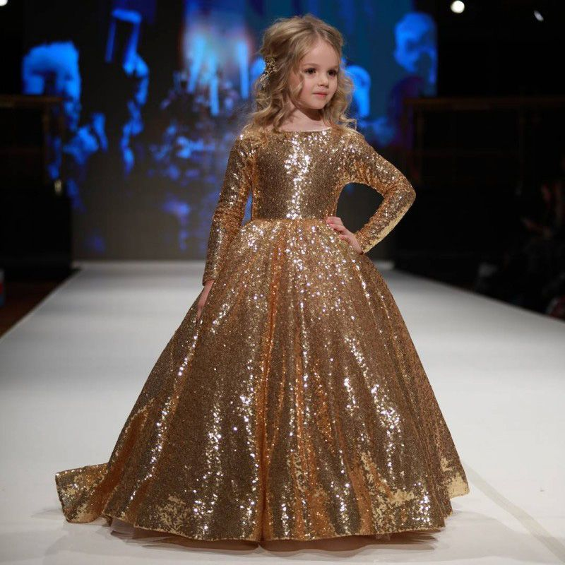 New Hot Sparkly Gold Ball Gown Sequined Children Pageant Dress ...