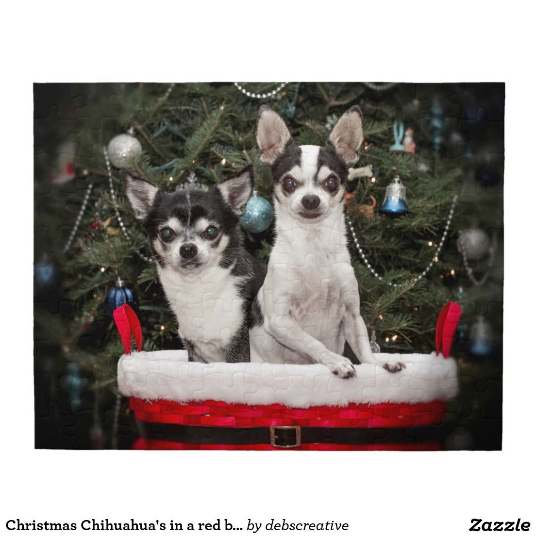 Christmas Chihuahua's in a red basket Jigsaw Puzzle