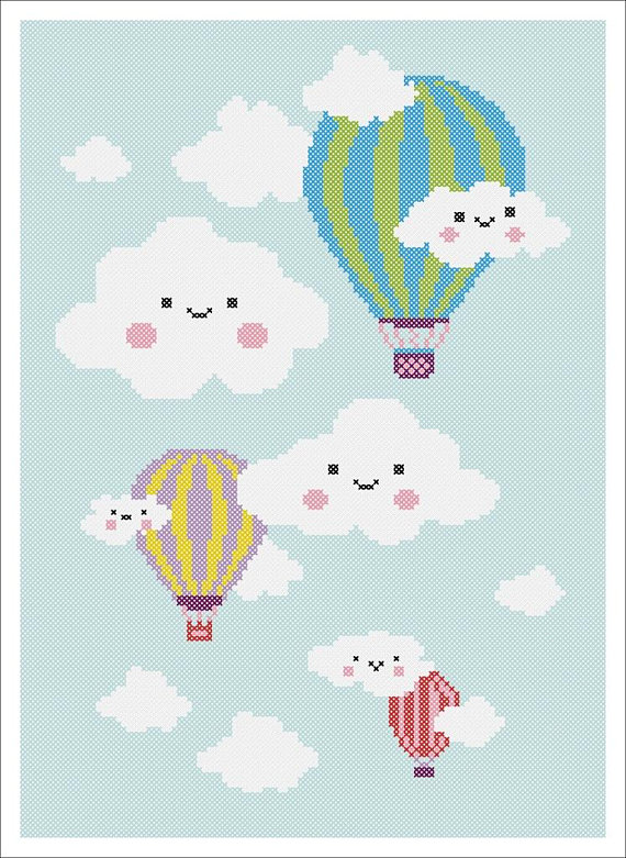 HOT AIR BALLOONS IN FLIGHT Baby Graph Afghan Pattern  *EASY* CROCHET PATTERN