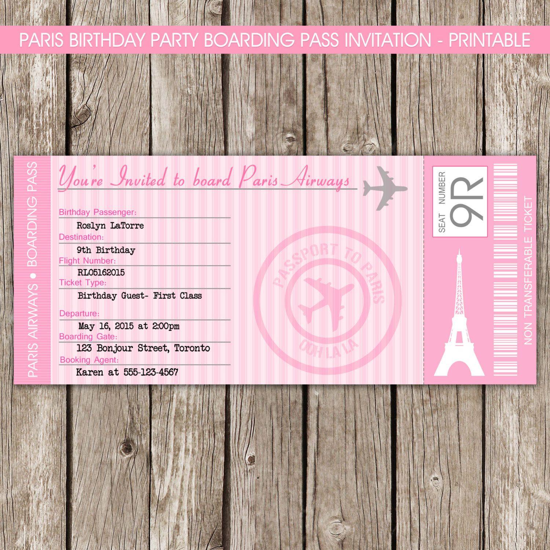 Paris Boarding Pass Invitation Passport To By LittleMsShutterbug