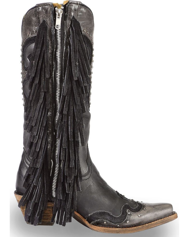 0b45b236626 Corral Women's Black Studded Fringe Cowgirl Boots - Snip Toe in 2019 ...