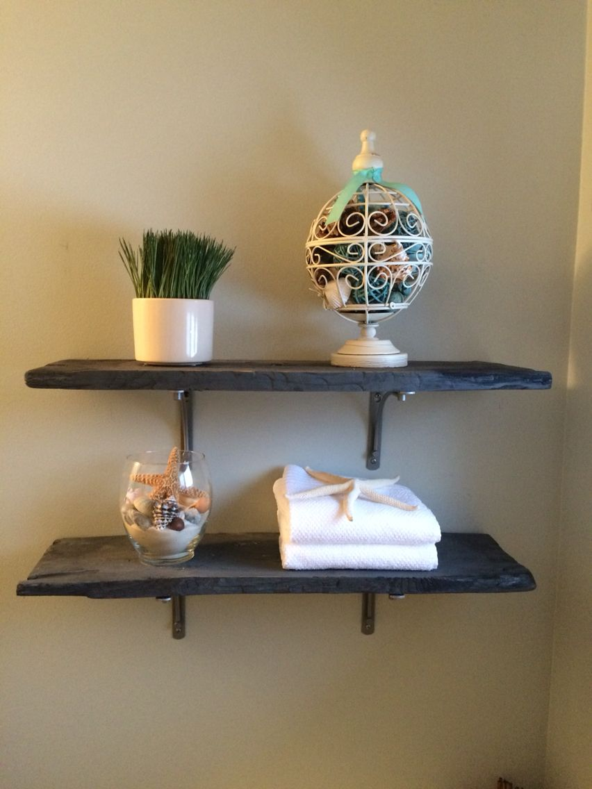 Grey stained barn board shelves