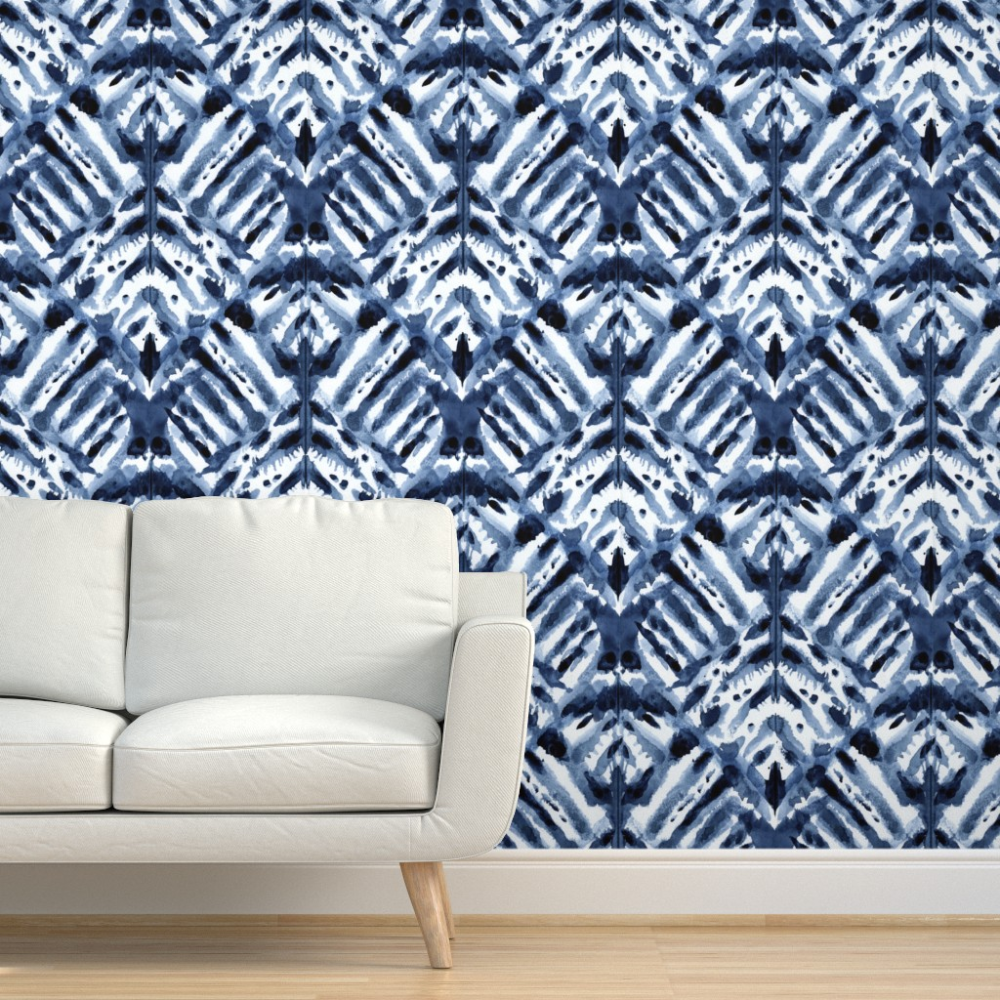 Peel-and-Stick Removable Wallpaper Abstract Indigo Blue Watercolor Diamond
