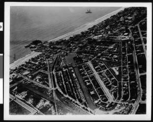 Aerial view of Venice looking west, 1918 :: California Historical Society Collection, 1860-1960  (the second image needs to be flipped horizontally)