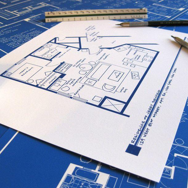 Seinfeld Apartment T.V. Show Floor Plan Blueprint