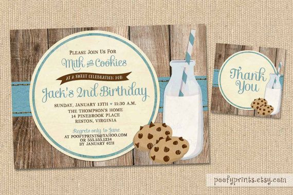 Blue Milk and Cookies Party Invite Milk and Cookies Boy Birthday Party Invitation Milk and Cookies Baby Shower