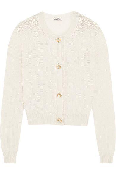 MIU MIU Cropped embellished cashmere cardigan. #miumiu #cloth ...