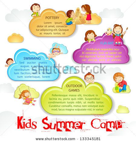 Vector Illustration Of Kid Playing On Cloud For Summer Camp Poster By Stockshoppe Via Shutterstock