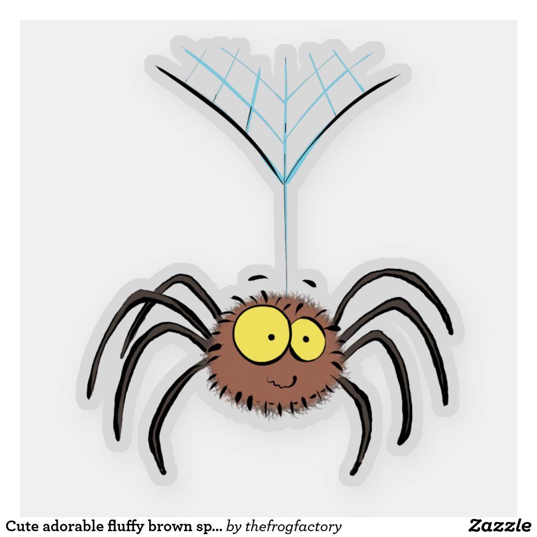 Cute Adorable Fluffy Brown Spider Cartoon Sticker Spider Drawing Spider Cartoon Cartoon Stickers