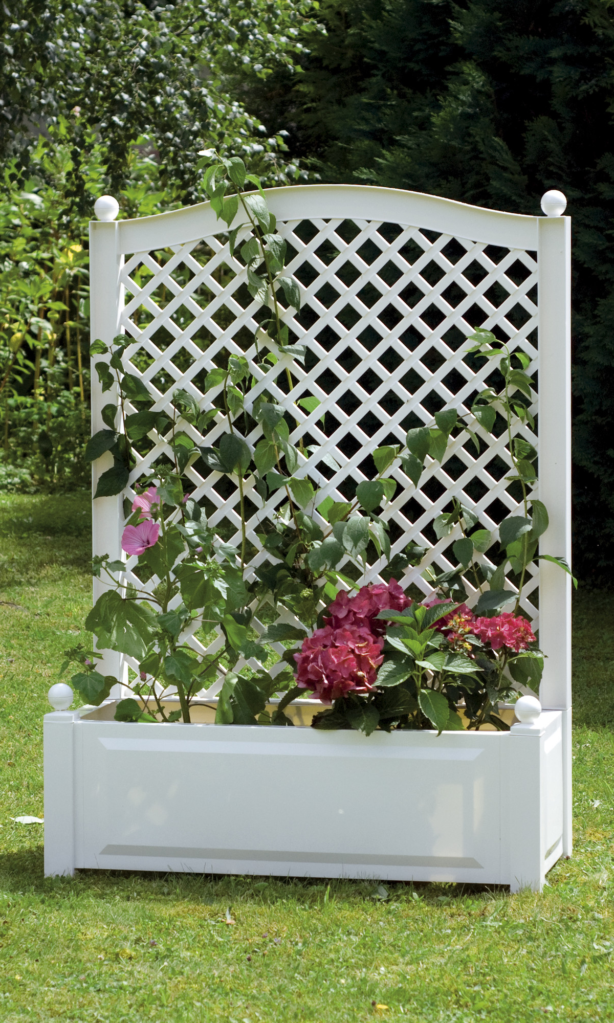 White Plastic Rectangular Planter Outdoor