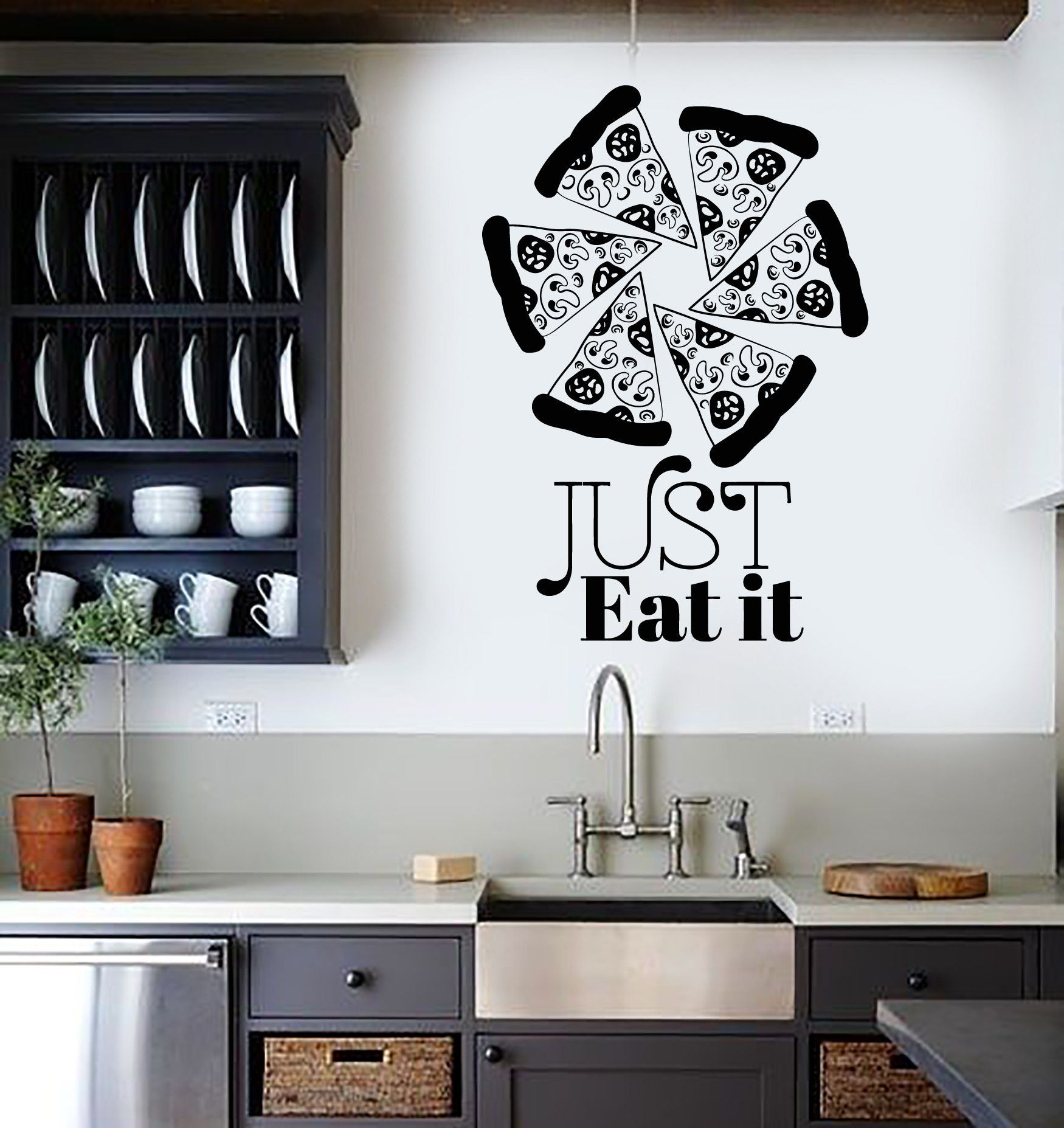 Vinyl wall decal pizzeria art mural pizza funny quote food stickers