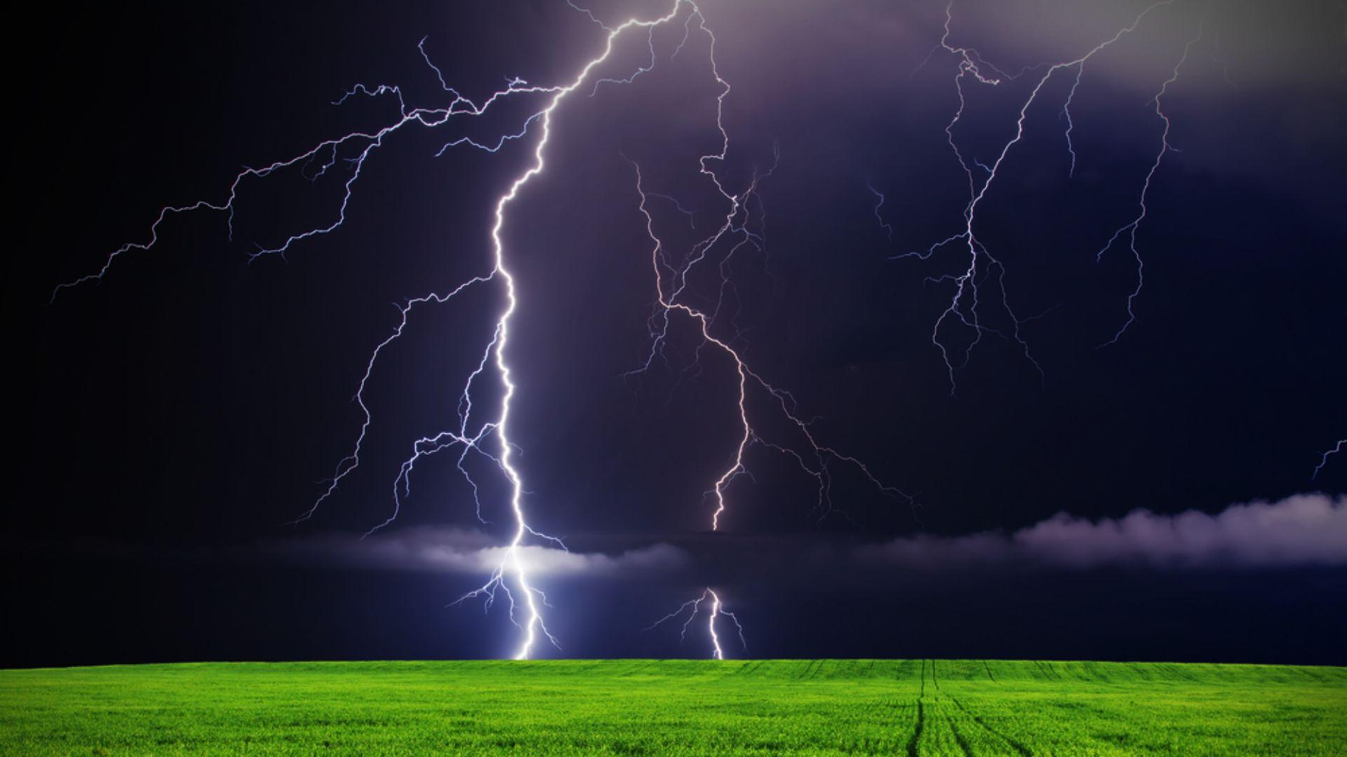 countryside Lightning storm, Storm wallpaper, Volcano