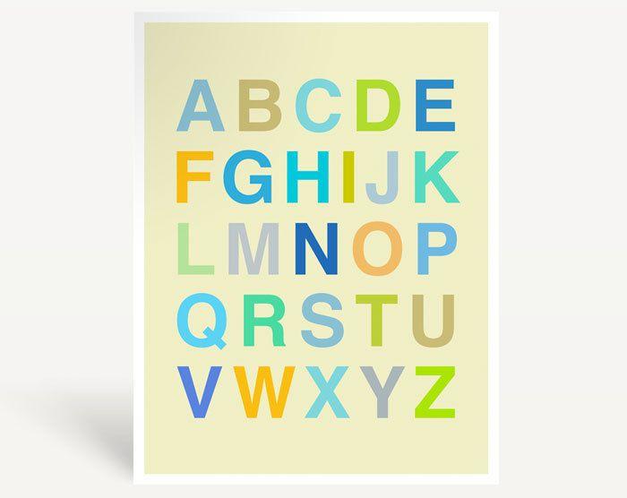 Helvetica Alphabet Poster, Back to School, Modern Nursery Art Print ...