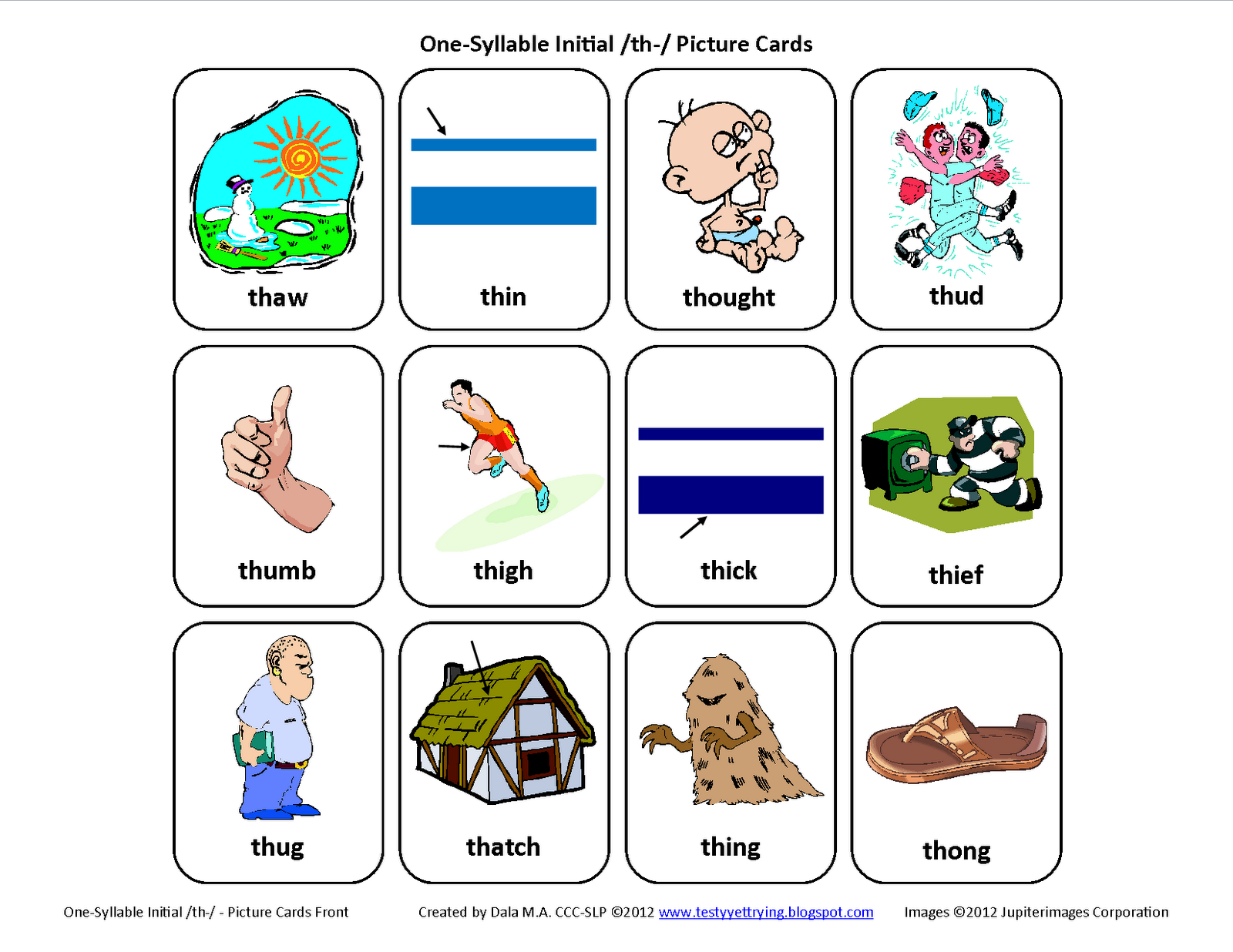 Initial Th Voiceless Free Speech Therapy Articulation Picture Cards From Testy Yet Trying