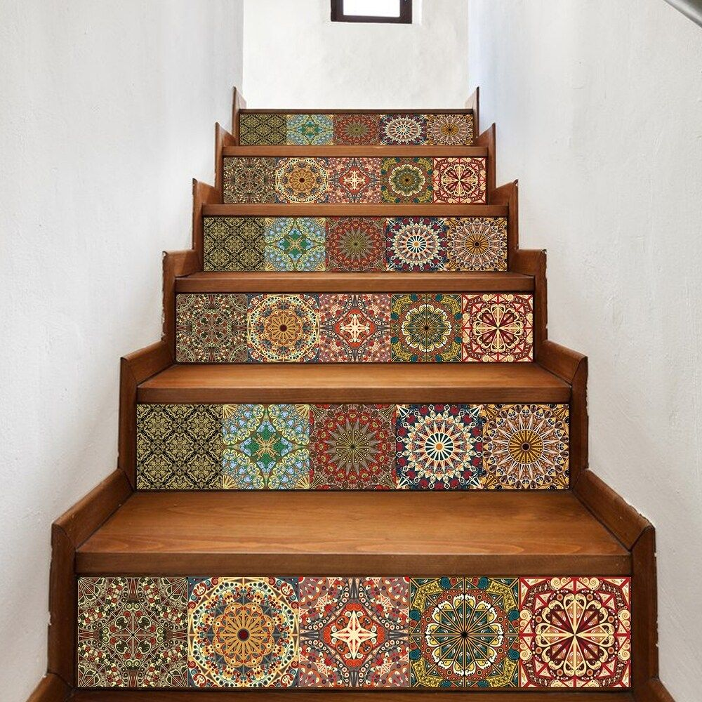 Photo of Walplus Arabic Colourful Tiles Stairs Decals Wall Stickers Home Décor (Multi-Color), Brown