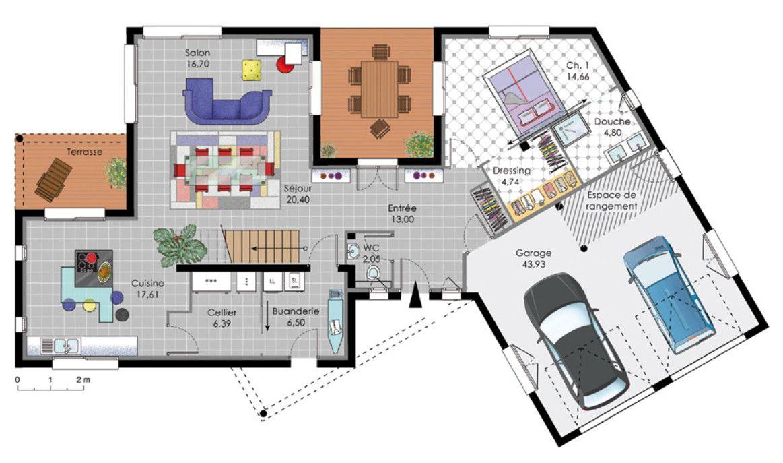plan de petite maison simple tr s fonctionnelle avec 1 chambre et un garage pour 2 voitures. Black Bedroom Furniture Sets. Home Design Ideas